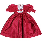 Lovely Red Silk Dress for Medium Sized Doll