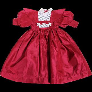 Lovely Red Silk Dress for Medium Sized Doll