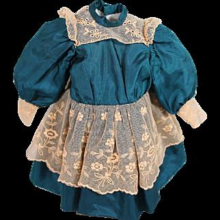 Pretty Peacock Blue Silk Dress for Doll