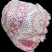Vintage Crocheted Doll Bonnet