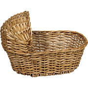 Vintage Wicker Bassinet for Small Doll