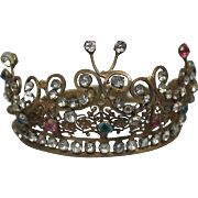 Antique French Miniature Crown with Paste Stones