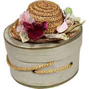 Antique Hat and Hatbox for Small Doll