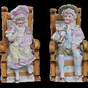 Darling Pair of German Figurines with Doll
