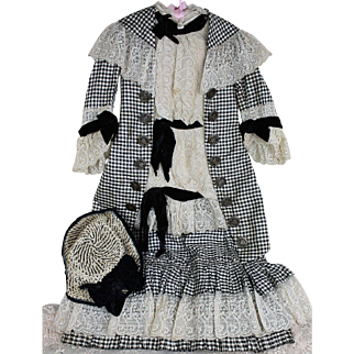 French Antique Child's Outfit for Large Doll