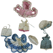 Three Vintage Crocheted Outfits for Mignonette