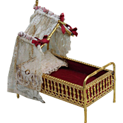 Elaborate Miniature Antique Ormolu Doll Bed, Faux Bamboo