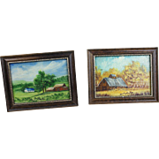 Pair of Vintage Miniature Oil Paintings