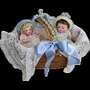 """Darling Pair of 4 3/4"""" Kestner All Bisque Baby Twins in Basket"""