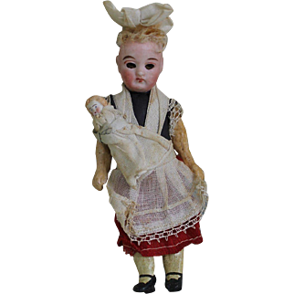 "All Original 6 1/4"" Nanny Doll with Baby"