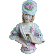 "Lovely 3 1/4"" German Half Doll in Fancy Outfit"