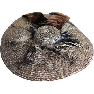 Fabulous Antique Straw Hat for French Fashion