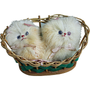 Adorable Vintage Fur Kittens in Original Basket