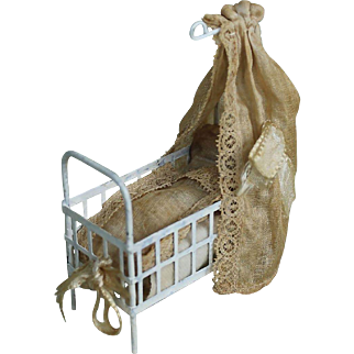 Antique Miniature Canopied Metal DollHouse Crib with Bedding