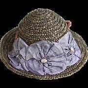 Darling Vintage Straw Doll Hat