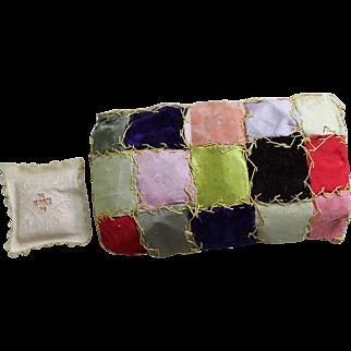 Antique Miniature Victorian Crazy Quilt and Pillow