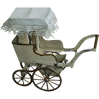 Fabulous Antique Miniature Doll Carriage