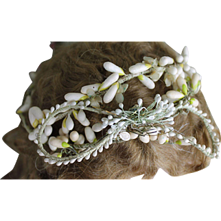 Gorgeous Antique Wax Floral Wedding Headdress
