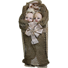 Antique Candy Container with Two Wax Head Babies