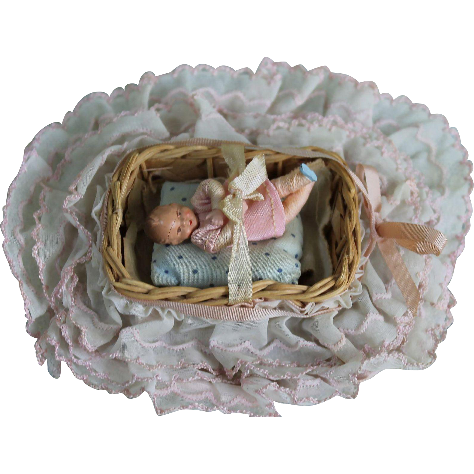 Vintage Miniature Bassinet With Rubber Baby Doll From