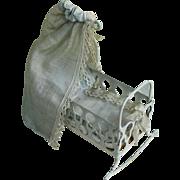 Miniature Antique Metal Cradle with Bedding