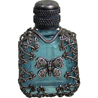 Miniature Blue and Silver Perfume Bottle with Stopper