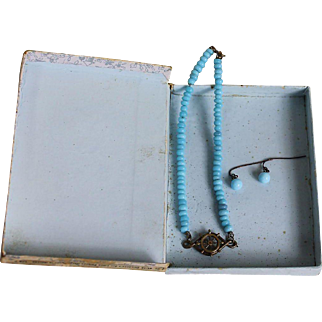 Adorable Box with Blue Beaded Necklace and Earrings for Doll