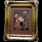 c1909 Roses Print Paul de Longpre Vintage Syroco Frame Flower Floral Cabbage Rose
