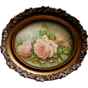 Pink Cabbage Roses Print Sonie Ames Oval Gesso Frame