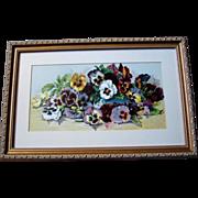 c1890s Pansies Print Half Yard Long Grace Barton Allen Pansy Flower Floral Chromolithograph