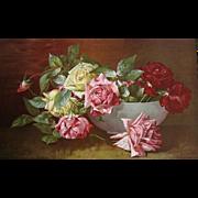 c1897 Roses Print Half Yard Long Chromolithograph Dangon Cabbage Rose