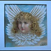 c1880s Cupid Chromolithograph Print Frame Fairy Cherub Angel