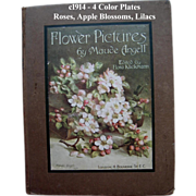 c1914 Flower Pictures Book Roses Lilacs Maud Angell Gorgeous Color Print Plates