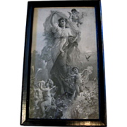 c1900 Lady Cupid Print Hans Zatzka Fairy Angel Roses Half Yard Long Spring Fantasy Maiden Bird Flower