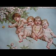 Frances Brundage Babies Butterfly Apple Blossoms Print Chromolithograph c1890s Child Children Baby Half Yard Long Antique
