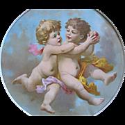 c1890s CUPID Print Chromolithograph Apple Cupids Fairy Angel Cherub Framed