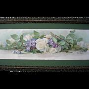 c1896 Bride Roses Violets Yard Long Print Paul de Longpre Chromolithograph Flower Floral Old Frame Antique Victorian