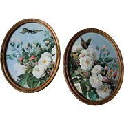 Two Rose Print s  Paul de Longpre Roses Butterflies Oval Gold Frame s Vintage - Red Tag Sale Item