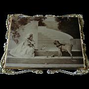 c1897 Girl Pug Dog Photograph Print behind Glass Bakers Art Gallery Brass Filigree Frame Rose