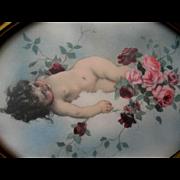 CUPID Pink Roses Print Vintage Gesso Frame Tojetti Angel Cherub