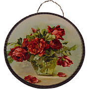 c1890s Catherine Klein Scarlet Cabbage Roses Flue Cover Chromolithograph