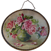 c1890s Catherine Klein Pink Cabbage Roses Flue Cover Chromolithograph