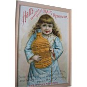 c1890s Halls Hair Renewer Girl Advertising Card Print Chromolithograph Quack Medicine Science Victorian Trade Card