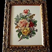 c1890s Die Cut Roses Violets Print Chromolithograph