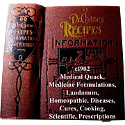 c1902 Antique Quack Medicine Dr Chases Medical Recipes Information for Everybody Book Abortion Fertility Toilet Health Household Cook book Animal Husbandry Home Care