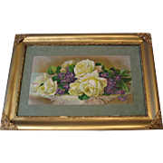 c1895 Cabbage Roses Violets Print Paul de Longpre Tea Roses Chromolithograph Scarce Half Yard Long