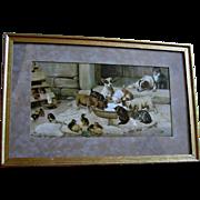 c1902 Five O Clock Tea Print Dog Cat Chicken Duck W H Trood Chromolithograph Farmyard Animal Half Yard Long Woolson Spice