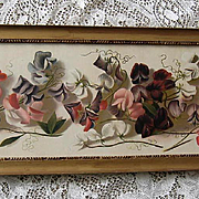 c1890s Sweet Peas Yard Long Print Le Roy Chromolithograph Antique Victorian Flower Floral Sweet Pea