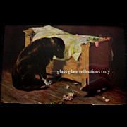 c1902 The Lost Playmate Print Deceased Child Black Labrador Dog Roses Cradle Antique Gustave Mosler