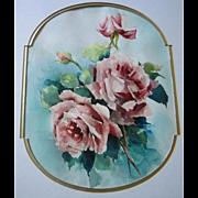 Pink Roses Watercolor Painting after Catherine Klein All Original Rose Flower Floral Gold Vintage